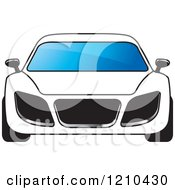Clipart Of A Front View Of A White Car Royalty Free Vector Illustration