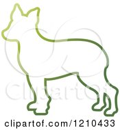 Clipart Of A Gradient Green Dog Outline Royalty Free Vector Illustration