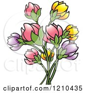 Clipart Of A Bunch Of Pink Purple And Yellow Flowers Royalty Free Vector Illustration