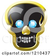Poster, Art Print Of Black And Gold Skull With Diamond Eyes