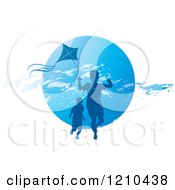 Clipart Of Boys Playing With A Kite Over A Blue Circle Royalty Free Vector Illustration by Lal Perera