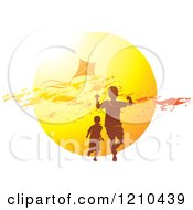 Clipart Of Boys Playing With A Kite Over A Sunset Royalty Free Vector Illustration