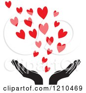 Clipart Of Black And White Uplifted Hands With Red Hearts Royalty Free Vector Illustration by Johnny Sajem