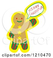 Cartoon Of A Gingerbread Man Cookie Shouting Merry Christmas Royalty Free Vector Clipart