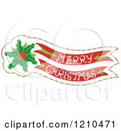 Cartoon Of A Merry Christmas Banner With Holly Royalty Free Vector Clipart