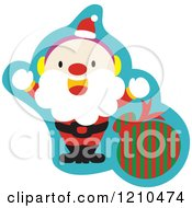 Cartoon Of A Friendly Santa Waving By A Bag Royalty Free Vector Clipart by Cherie Reve