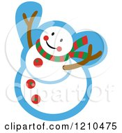 Cartoon Of A Happy Snowman Royalty Free Vector Clipart