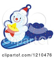 Cartoon Of A Happy Snowman With A Star Royalty Free Vector Clipart