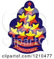 Cartoon Of A Tree With Stars And A Merry Christmas Base Royalty Free Vector Clipart