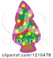 Cartoon Of A Christmas Tree With A Star Garland Royalty Free Vector Clipart by Cherie Reve