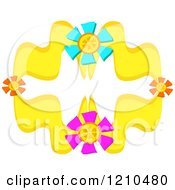 Yellow Floral Design With Colorful Blooms