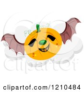 Flying Halloween Jackolantern Pumpkin With Bat Wings