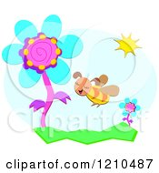 Cartoon Of A Bee And Spring Time Flowers Royalty Free Vector Clipart