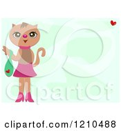 Feminine Cat With A Purse Over Green