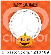 Clipart Of A Jackolantern Pumpkin Happy Halloween Text And A Doily Frame Over Orange Dots Royalty Free Vector Illustration