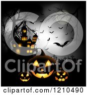 Clipart Of A Halloween Haunted House With Bats A Full Moon And Jackolantern Pumpkins In A Cemetery Royalty Free Vector Illustration