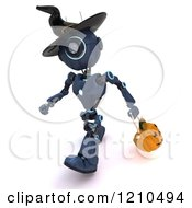 Clipart Of A 3d Blue Android Robot Trick Or Treating On Halloween As A Witch Royalty Free CGI Illustration by KJ Pargeter