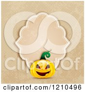 Clipart Of A Halloween Jackolantern Pumpkin With A Vintage Distressed Frame Over Beige Dots Royalty Free Vector Illustration