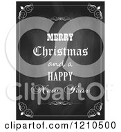 Clipart Of A Merry Christmas And A Happy New Year Greeting On A Black Board Royalty Free Vector Illustration