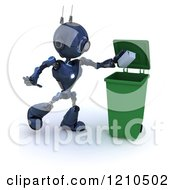 Clipart Of A 3d Blue Android Robot Dropping A Carton In A Recycle Bin Royalty Free CGI Illustration