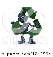 3d Blue Android Robot In Recycle Arrows