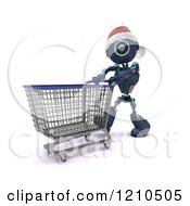 Clipart Of A 3d Blue Android Robot Wearing A Santa Hat And Pushing A Shopping Cart Royalty Free CGI Illustration
