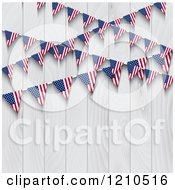 Clipart Of American Flag Bunting Party Banners Over A White Wooden Fence Royalty Free Vector Illustration