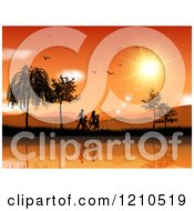 Clipart Of A Silhouetted Family Walking Along A Lake Against An Orange Sunset With Birds Royalty Free Vector Illustration by KJ Pargeter