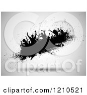 Clipart Of A Silhouetted Crowd Dancing With Music Notes On A Grunge Blob Over Gray Royalty Free Vector Illustration