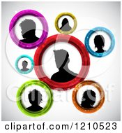 Clipart Of Silhouetted Networked People Avatars In Circles Royalty Free Vector Illustration