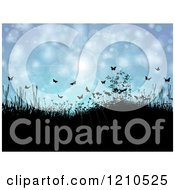 Clipart Of A Spring Time Background Of Hills Plants Butterflies And Sunshine Royalty Free Vector Illustration