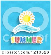Sun And Wave Over Summer Text On Blue Dots