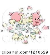 Cartoon Of A Shattered Piggy Bank With Cash And Coins Royalty Free Vector Clipart