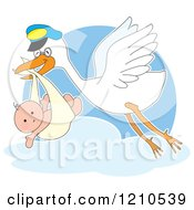 Cartoon Of A Happy Stork Bird Fling With A Baby In A Bundle Royalty Free Vector Clipart