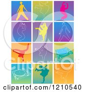 Clipart Of Hip Hop Break Dancers And Turn Tables Royalty Free Vector Illustration by Andy Nortnik