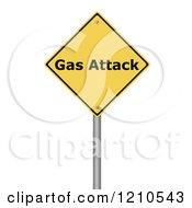 Clipart Of A 3d Gas Attack Warning Sign Royalty Free CGI Illustration