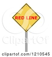 Clipart Of A 3d Red Line Warning Sign Royalty Free CGI Illustration