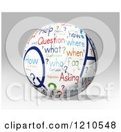 Clipart Of A 3d Questions And Answers Word Collage Globe On Gray Royalty Free CGI Illustration by MacX