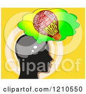 Clipart Of A Black Head Thinking Of Ideas Over Yellow Royalty Free CGI Illustration by MacX