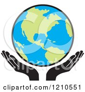 Clipart Of Uplifted Hands And Earth Royalty Free Vector Illustration