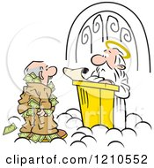 Cartoon Of A Man Trying To Take Money Through Heavens Gates Royalty Free Vector Clipart