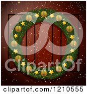Clipart Of A Christmas Wreath With Golden Elements On A Wood Door Royalty Free Vector Illustration by elaineitalia