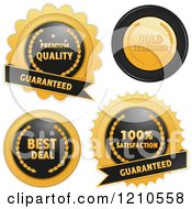 Clipart Of Black And Gold Quality Badges On White Royalty Free Vector Illustration by elaineitalia