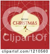 Merry Christmas Bauble Frame With Suspended Snowflakes On Red Grunge