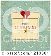 Merry Christmas Gift Box Frame And Snowflakes Over Distressed Turquoise