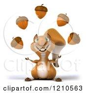 Clipart Of A 3d Squirrel Mascot Juggling Acorns Royalty Free CGI Illustration