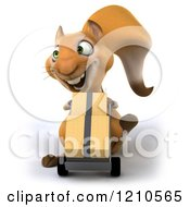 Clipart Of A 3d Squirrel Mascot Pushing Boxes On A Dolly Royalty Free CGI Illustration