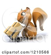 Clipart Of A 3d Squirrel Mascot Pushing Boxes On A Dolly 2 Royalty Free CGI Illustration
