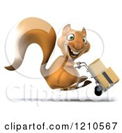 Clipart Of A 3d Squirrel Mascot Pushing Boxes On A Dolly 3 Royalty Free CGI Illustration