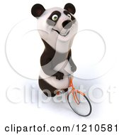Clipart Of A Happy Panda Bear Riding A Bicycle 3 Royalty Free CGI Illustration